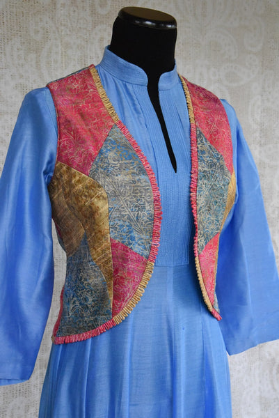 501259 Chanderi Suit With Multi Colored Jacket