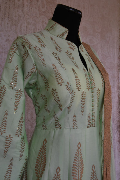 501272 Mint Green Block Printed Chanderi Anarkali