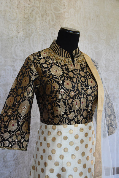 501289 Black White & Gold Raw Silk Anarkali With Benarasi Work
