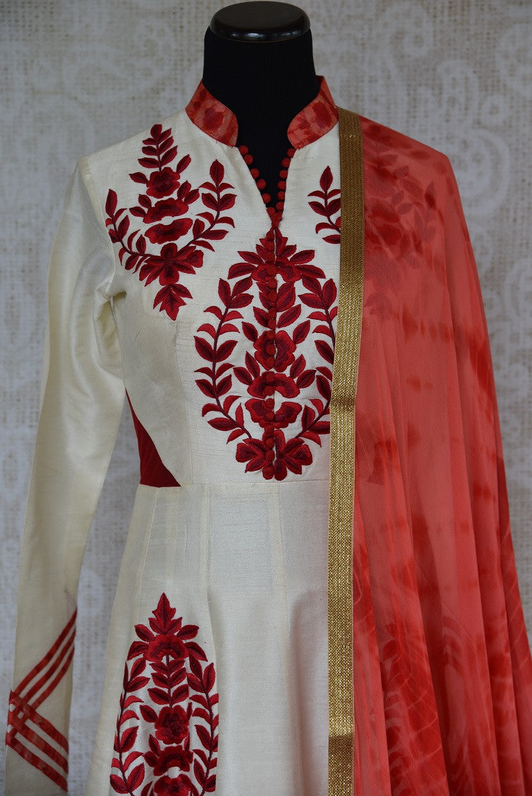 501295 Red & White Embroidered Raw Silk Anarkali