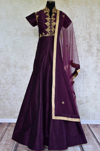 Raw silk with golden thread embroidery suit. This classic anarkali suit is perfect for Indian parties.-Fullview