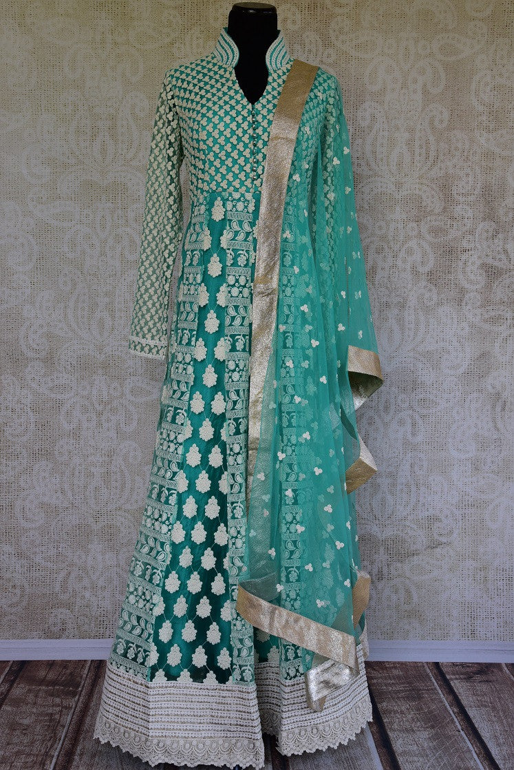 Green net with jaal thread embroidery anarkali. Gorgeous party wear suit perfect for Indian events.-full view