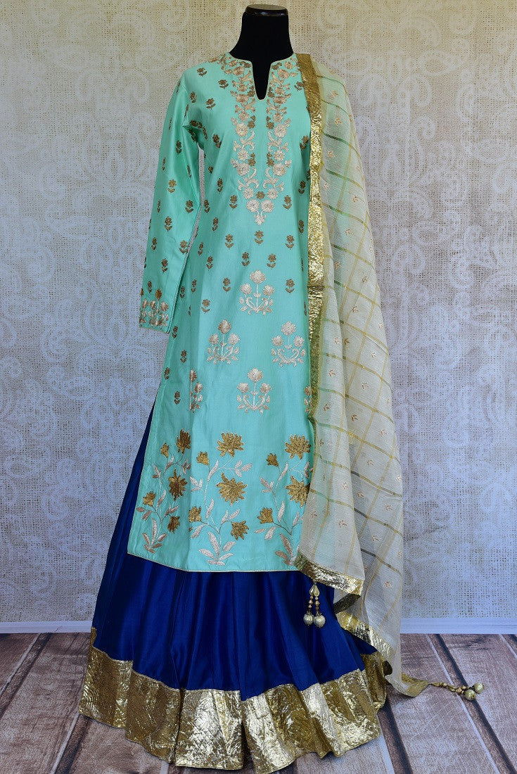 501336, Shop this traditional Indian navy blue and golden kurta set online or from our Pure Elegance store in Edison near NJ. Ideal for wedding party, reception, sangeet. Navy Blue and Golden.