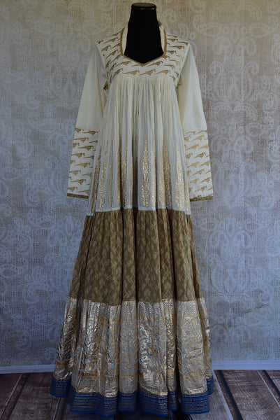 501339, Shop this ethnic Indian khari print traditional Indian cotton dress from Pure Elegance online or from our store in USA. It is ideal for any reception, wedding, engagement. Front View.