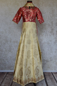 Raw silk with banarasi yolk red on beige anarkali suit. Perfect Indian designer suit for parties, festivals.-full view