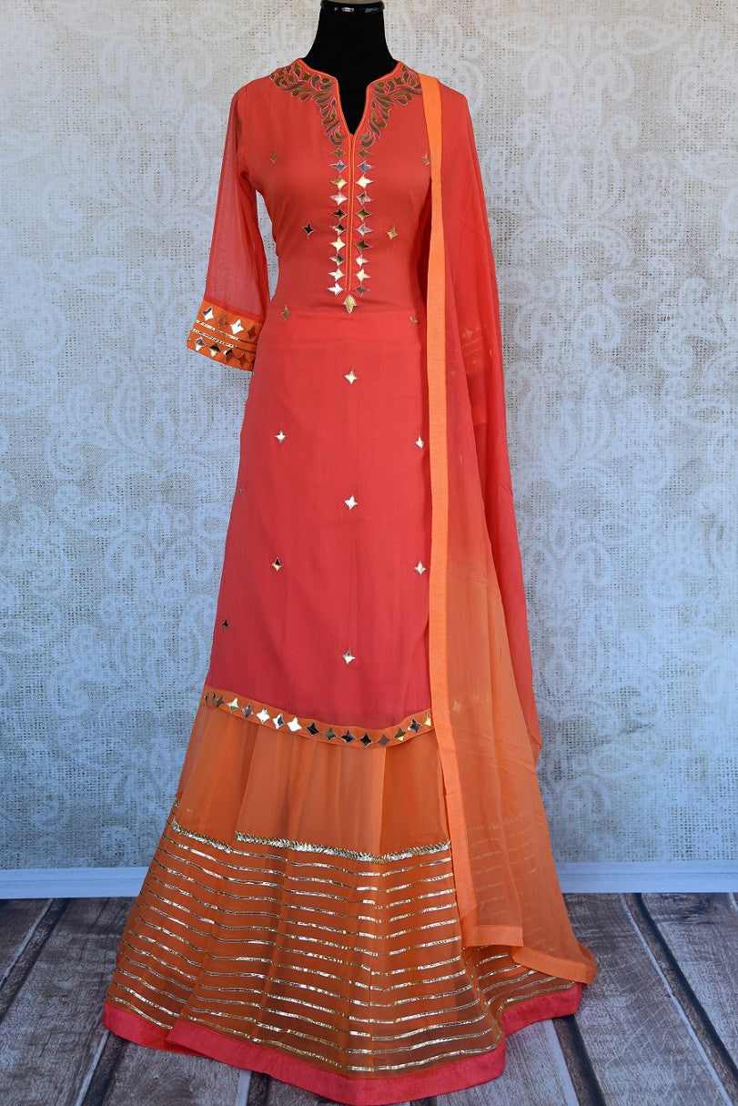 Designer georgette skirt suit with gota patti and leather work. Perfect casual party wear in Indian events.-Full view