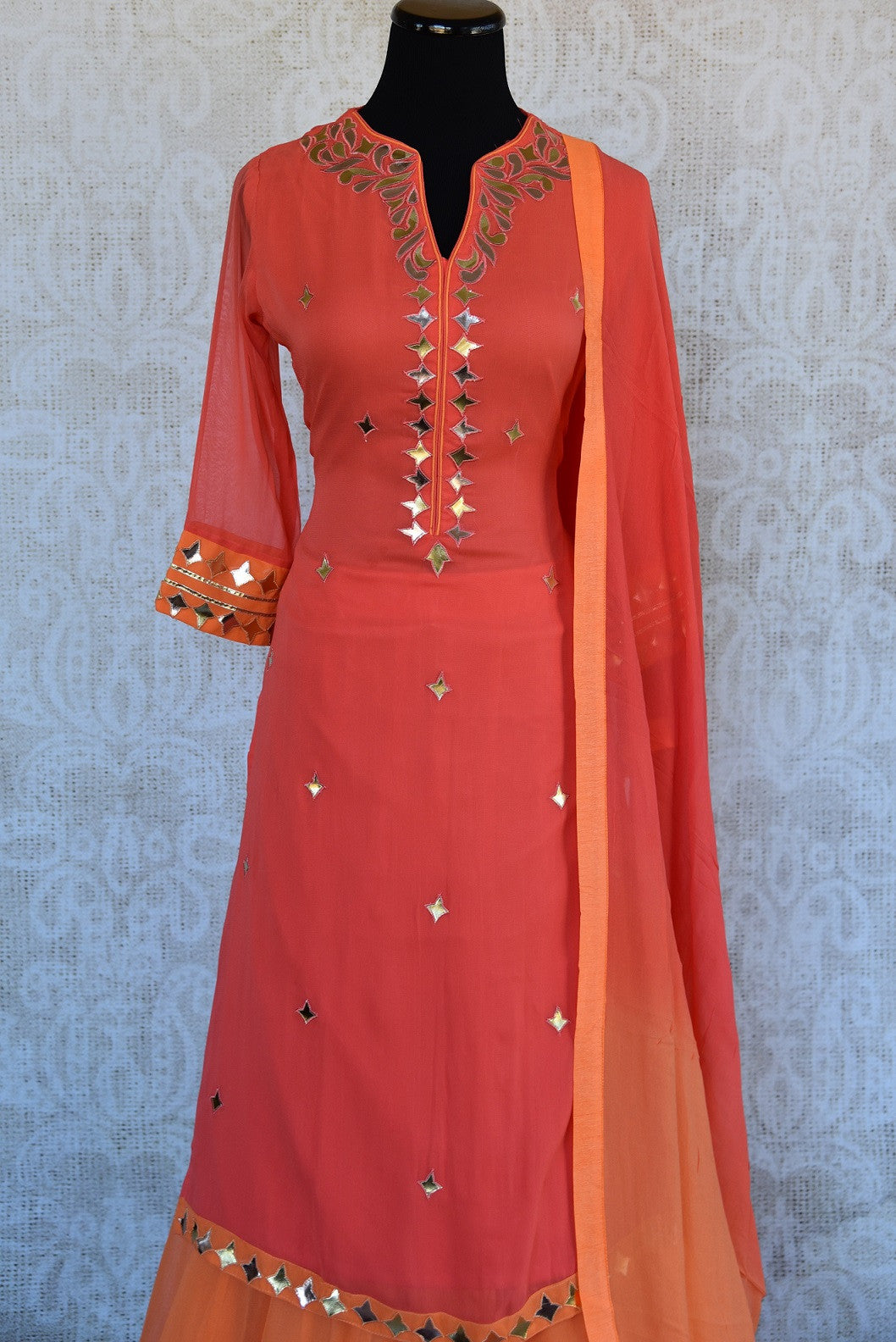 Designer georgette skirt suit with gota patti and leather work. Perfect casual party wear in Indian events.- leather work