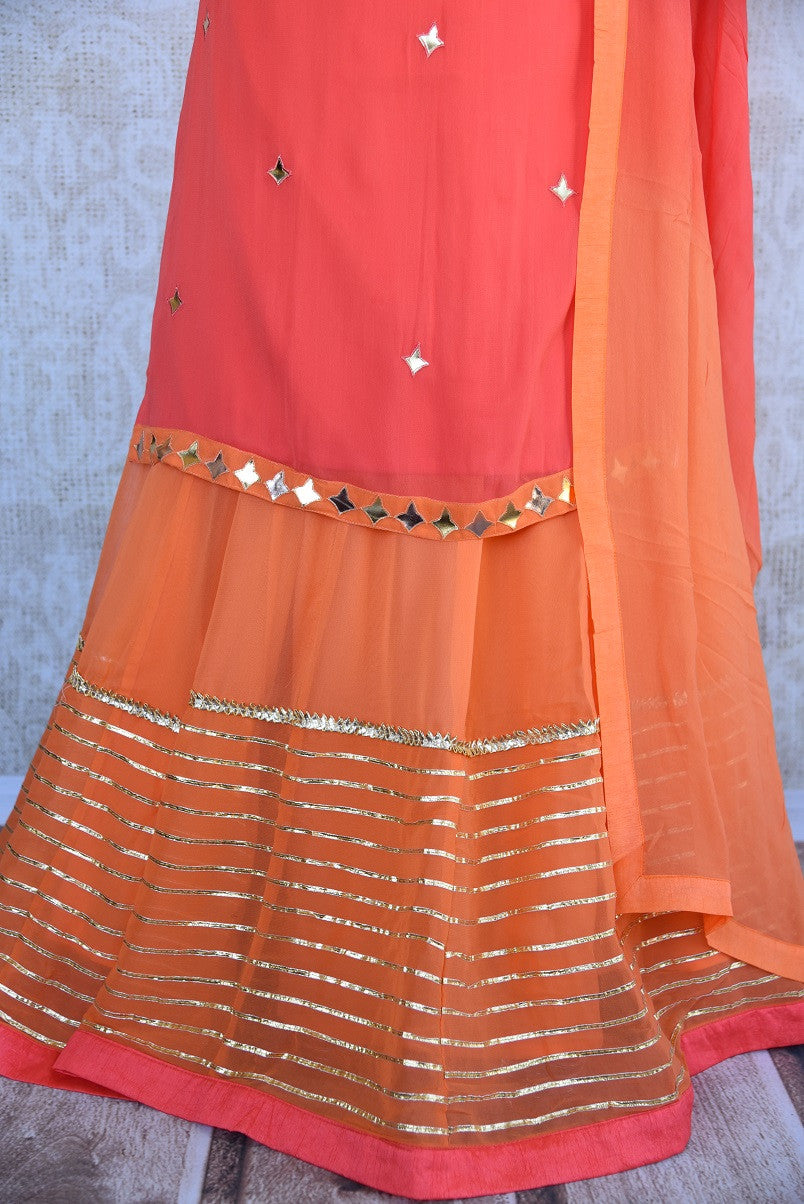 Designer georgette skirt suit with gota patti and leather work. Perfect casual party wear in Indian events.-gotta patti work