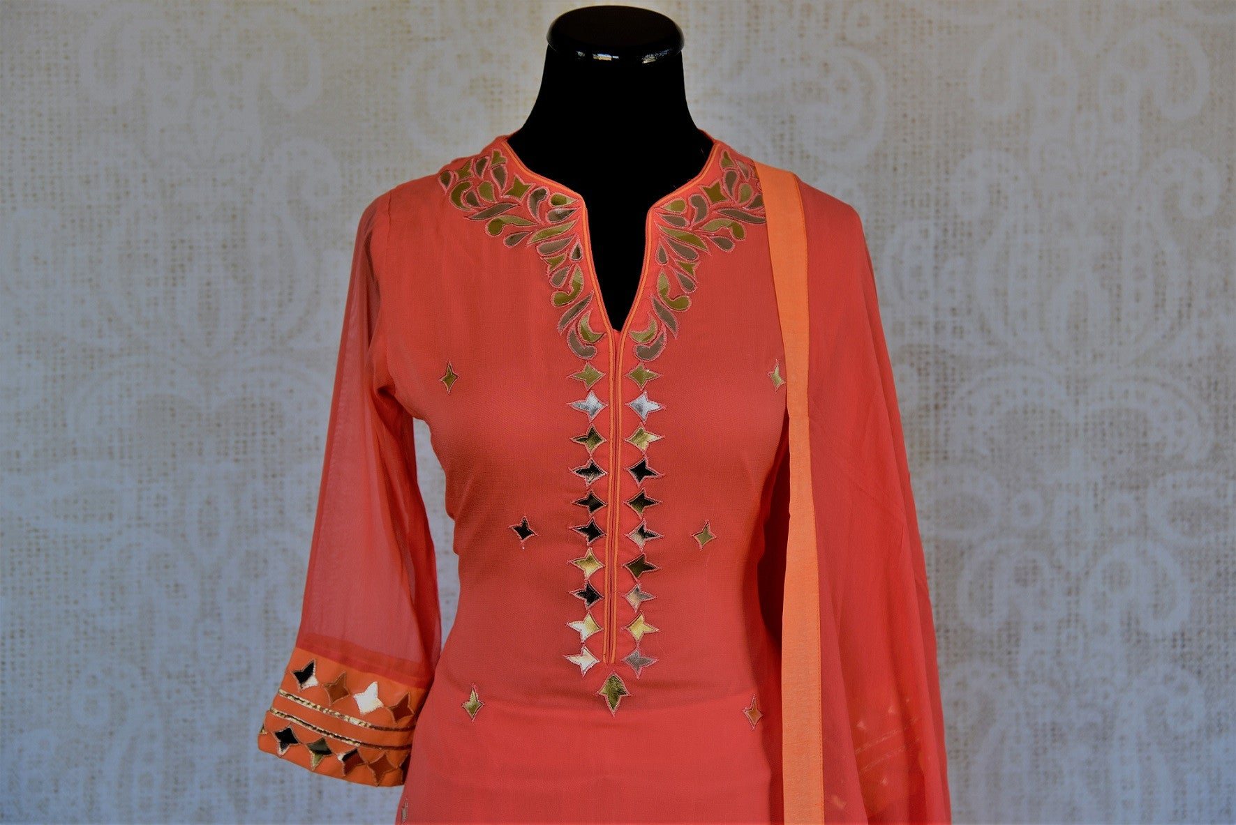 Designer georgette skirt suit with gota patti and leather work. Perfect casual party wear in Indian events.-close up