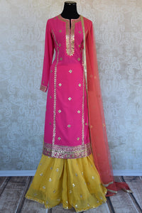 Georgette gota patti palazzo suit with orange net dupatta.Classic festive collection for Indian occasion.-full view