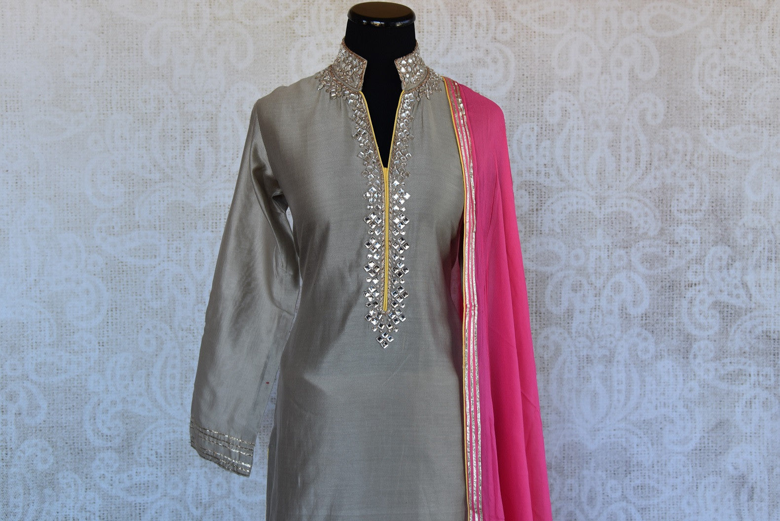 Chanderi kurta and georgette palazzo with gotta patti and kundan work. This comes with pink georgette dupatta.-kundan work