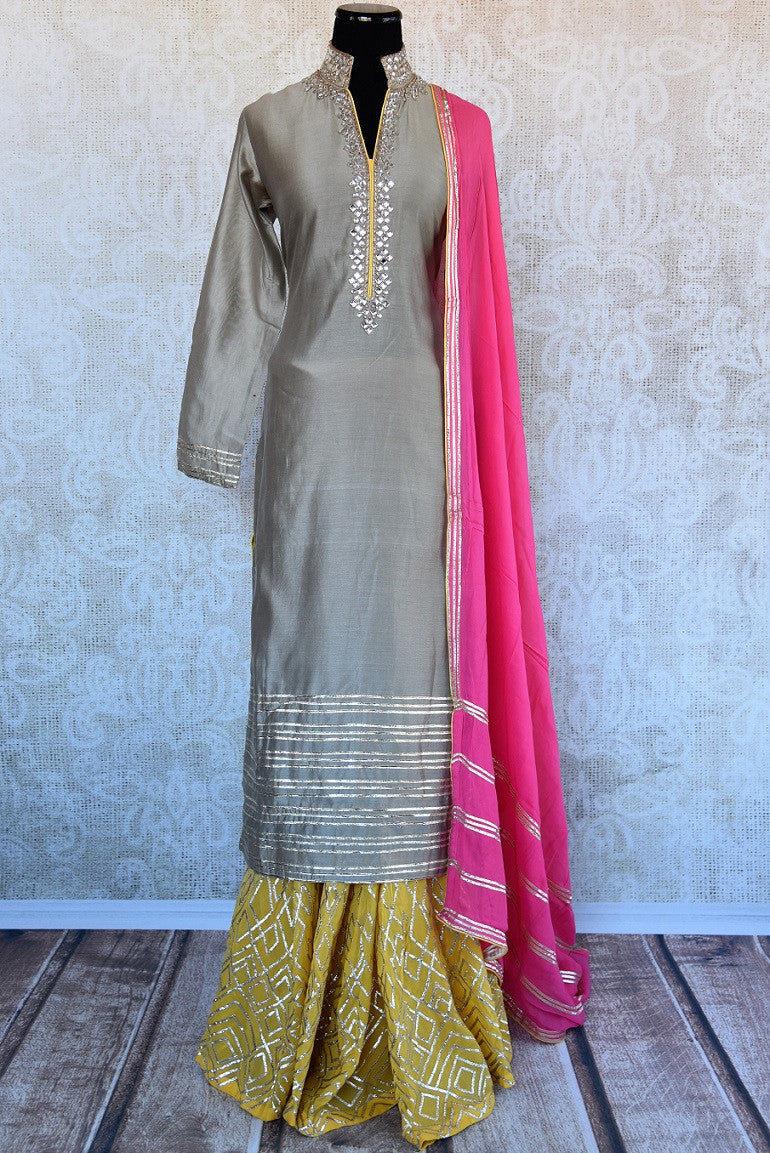 Chanderi kurta and georgette palazzo with gotta patti and kundan work. This comes with pink georgette dupatta.-full view