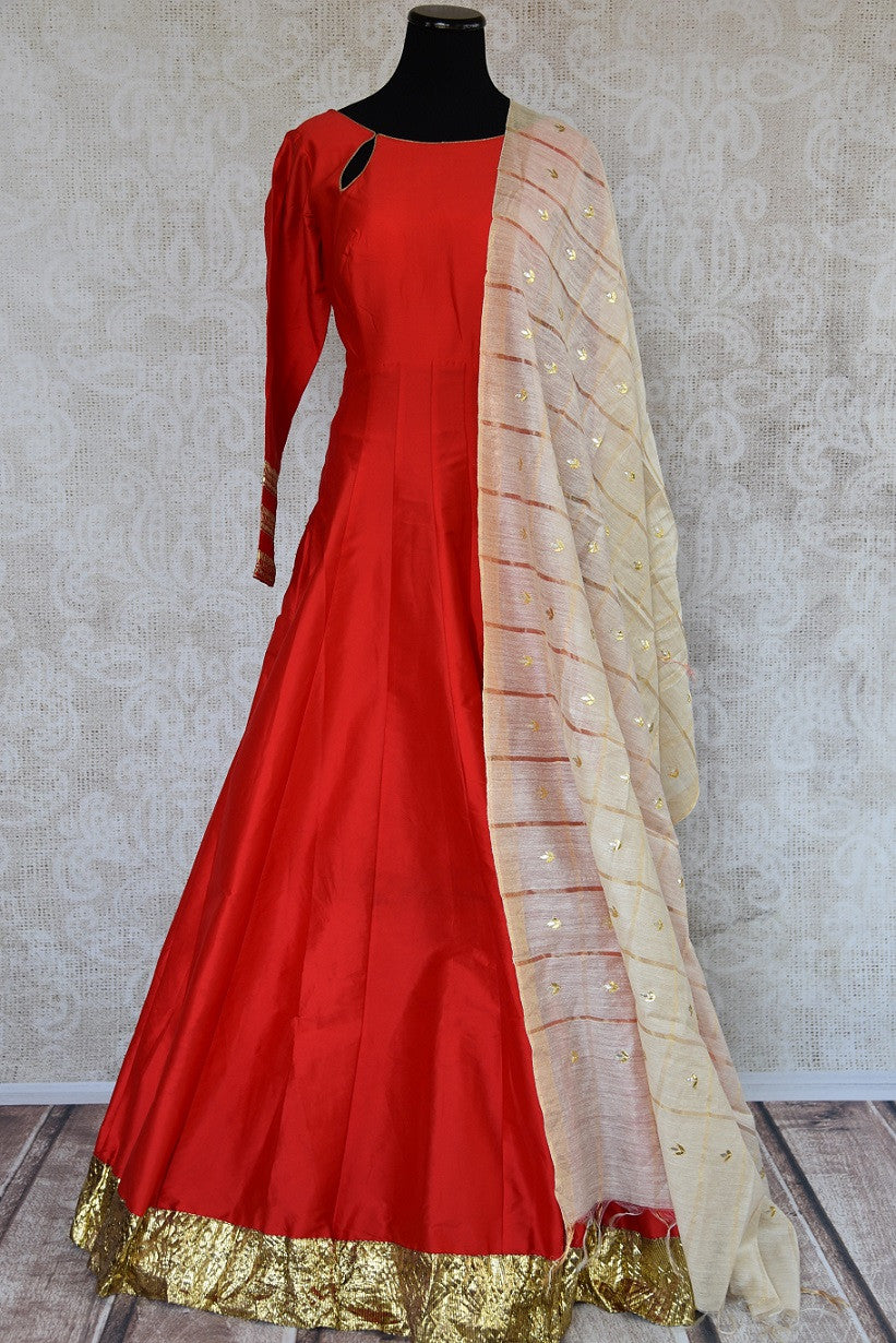 Red two piece floor length solid chanderi anarkali suit with dupatta in gown style available at Pure Elegance. Perfect for all Indian events and evening parties-Full view
