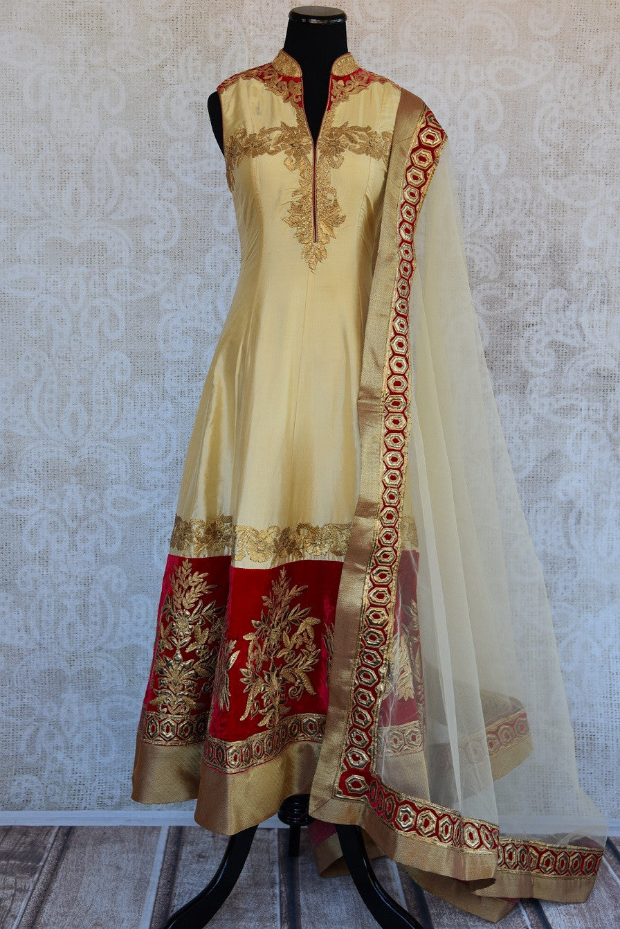 501362, Shop this Indian ethnic silk suit from Pure Elegance online or from our store in Edison near USA. It is perfect for any wedding, reception, sangeet or engagement. Front View.