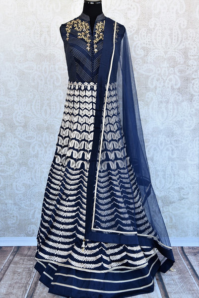 Shop Navy blue Indian ready made embroidered double layered anarkali suit with dupatta online and in store at Pure Elegance, perfect for parties and festivals.-Full view