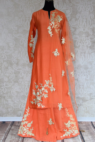 Buy this gorgeous chanderi silk indian suit combination of orange kurti and palazzo pants with dupatta from pure elegance store and online. Great for parties-Full View