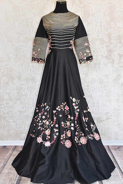One piece chanderi silk gown with heavy thread work embroidery . Grab this Indo western gown for perfect party look and be stylish.-Full view