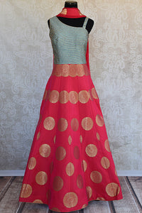a3d58d9fff Designer hot pink Indo western style anarkali with gold buta and stone work  embroidery comes with