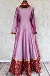 Buy Purple/lavender Anarkali with maroon banarasi border, embroidery on neck line and sleeves . This Indian attire comes with net dupatta-Full view