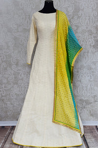 Off White Cotton Chikan Pre Stitched Anarkali Suit Comes With Banarasi Dupatta Ideal Dress For