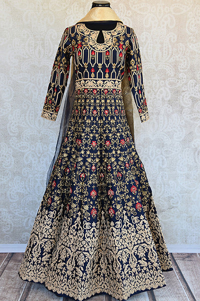 Designer Navy blue anarkali with thread work heavy embroidery. Perfect for Indian wedding parties, looks classy.- Full view