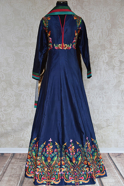 Buy this beautiful blue floor length silk Indian dress suit with floral embroidery and dupatta from Pure Elegance store, NJ. Great for parties and festivals-Full View