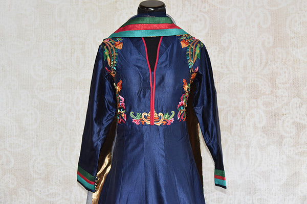 Buy this beautiful blue floor length silk Indian dress suit with floral embroidery and dupatta from Pure Elegance store, NJ. Great for parties and festivals-Top and Dupatta