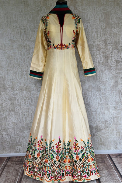 Buy Off White Floor Length Anarkali suit online from Pure Elegance store.  Indian Suits, Designer Anarkali suits online in various styles for different occasions.-full view