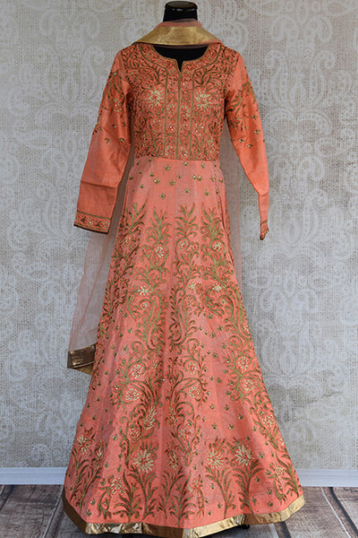 Designer Indian anarkali suit with heavy embroidery all over and very beautiful flare. Perfect outfit for wedding functions.-Full view