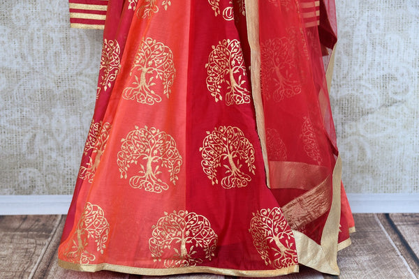 Buy ethnic block print Red Chanderi floor length Anarkali suit online at Pure Elegance store. Browse through an exclusively curated collection of Anarkali suits.-bottom