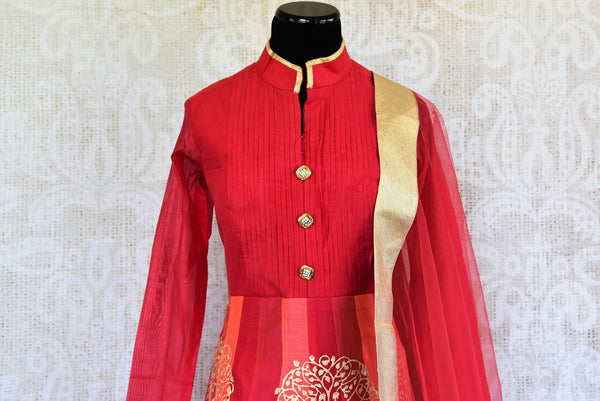 Buy ethnic block print Red Chanderi floor length Anarkali suit online at Pure Elegance store. Browse through an exclusively curated collection of Anarkali suits.-front