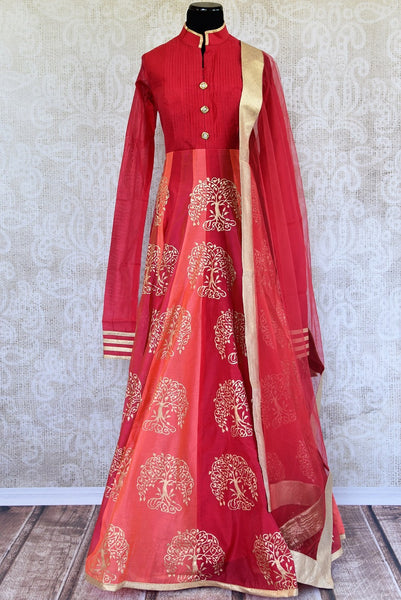 Buy ethnic block print Red Chanderi floor length Anarkali suit online at Pure Elegance store. Browse through an exclusively curated collection of Anarkali suits.-full view