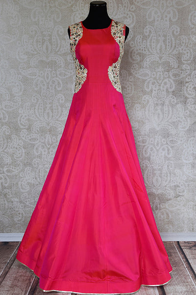 Classic Designer Silk gown with thread work. Perfect outfit for wedding parties and gatherings.-Full view