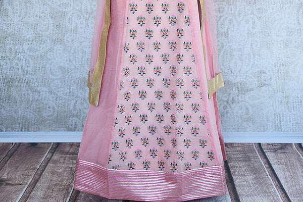 Designer pink chanderi embroidered anarkali. This pretty pink anarkali is perfect for Indian evening parties.- close up