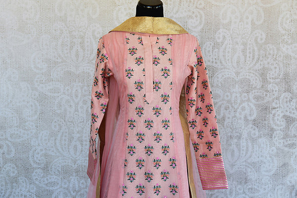 Designer pink chanderi embroidered anarkali. This pretty pink anarkali is perfect for Indian evening parties.-top view