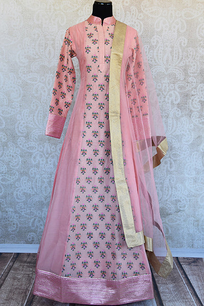 Designer pink chanderi embroidered anarkali. This pretty pink anarkali is perfect for Indian evening parties.-Full view