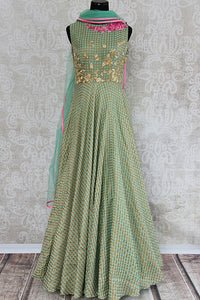 Green chanderi silk anarkali with thread embroidery on bodice. Perfect elegant and classy dress for parties.-full view