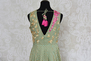 Green chanderi silk anarkali with thread embroidery on bodice. Perfect elegant and classy dress for parties.-back