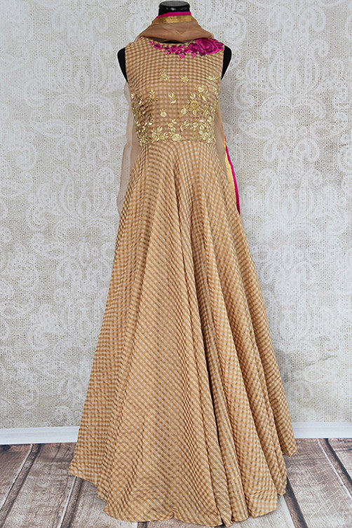 Brown chanderi silk anarkali with thread embroidery on bodice. Perfect elegant and classy dress for parties.-full view