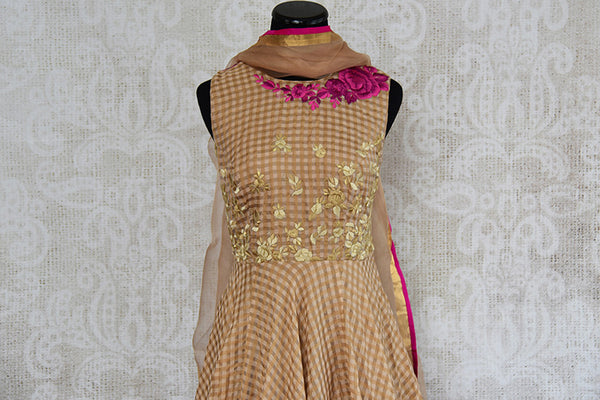 Brown chanderi silk anarkali with thread embroidery on bodice. Perfect elegant and classy dress for parties.- top view