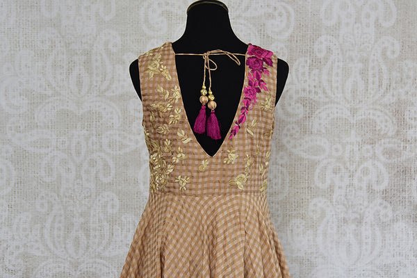 Brown chanderi silk anarkali with thread embroidery on bodice. Perfect elegant and classy dress for parties.-back view