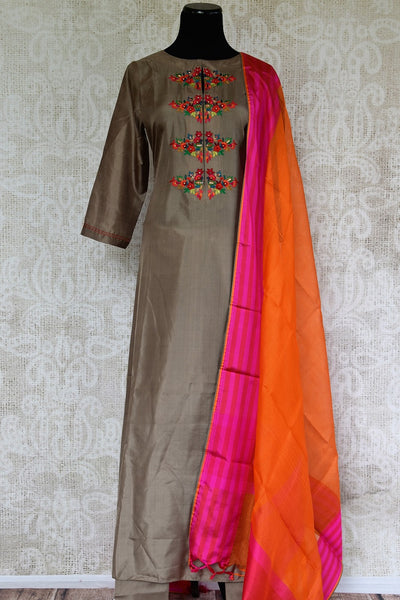 Buy Elegant Brown Silk Suit with Orange Dupatta online from Pure Elegance Store. Beautiful collection of ethnic Indian Salwar Kameez, Churidar Suits online in USA.-full view