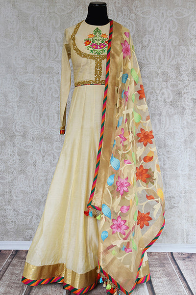 Off White Chanderi suit with thread embroidery and beautiful banarasi dupatta with multicolor flowers. Classy suit for Indian wedding events.-Full view