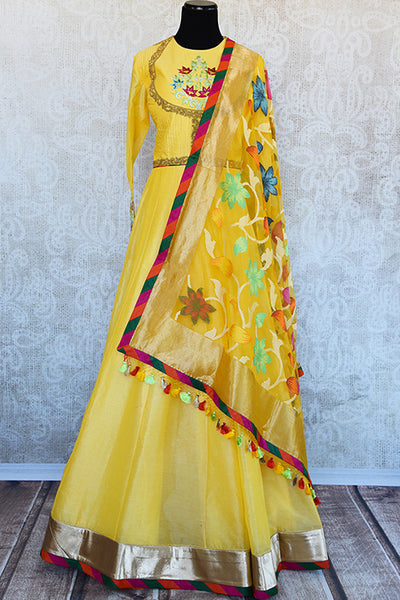 Indian bright yellow floor length thread embroidered anarkali with beautiful floral weaved dupatta. Perfect in wedding events.-Full View