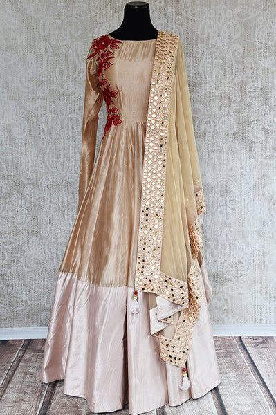 Beige silk suit with beautiful red thread embroidery on front and back and full mirror work dupatta.-Full view