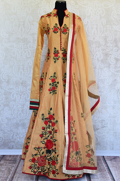 Brown chanderi thread work embroidery anarkali suit. Perfect party wear suit in Indian events and festivals.-full view