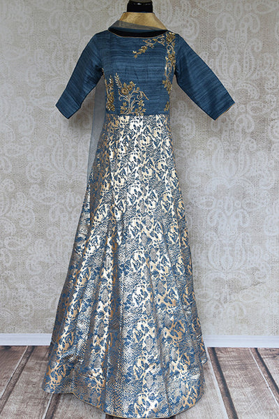 Blue-ish grey anarkali suit Khari print on raw khaddi and embroidery on bodice. Perfect for Indian events.-full view