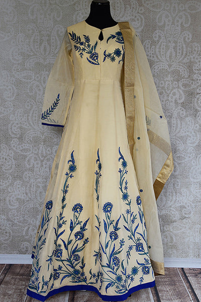 Chanderi suit with blue embroidery embellishment . Perfect Indian party wear and good for puja and festivals.- full view