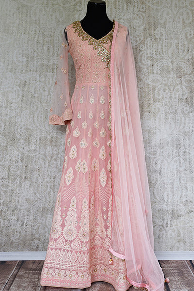 Pink Embroidered gotta Patti work anarkali suit. Elegant and classic suit for festivals.-full view