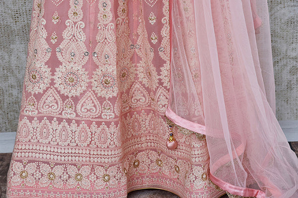 Pink Embroidered gotta Patti work anarkali suit. Elegant and classic suit for festivals.- chikankari work